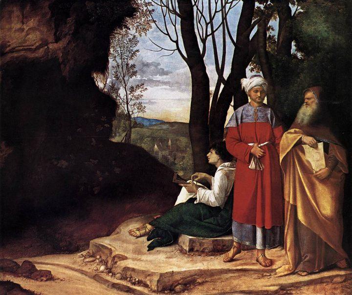 картина Три философа :: Джорджоне, художник - Жанровые сцены фото