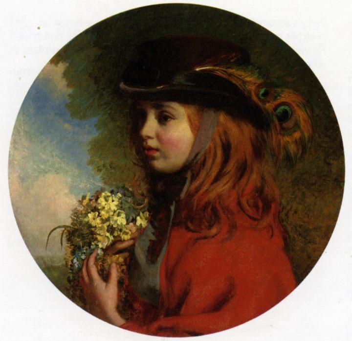 картина Весна (портрет девочки с букетом):: Генри Хетерингтон Эммерсон, описание картины - Портреты фото