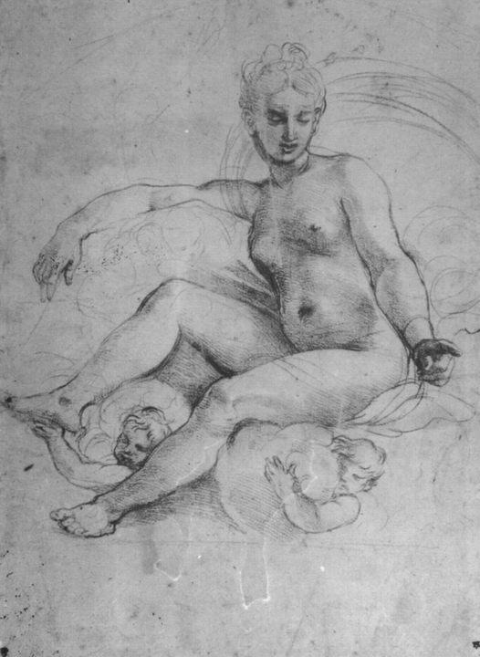 Обнаженная Психея на облаках:: Рафаэль Санти - Картины ню, эротика в шедеврах живописи фото
