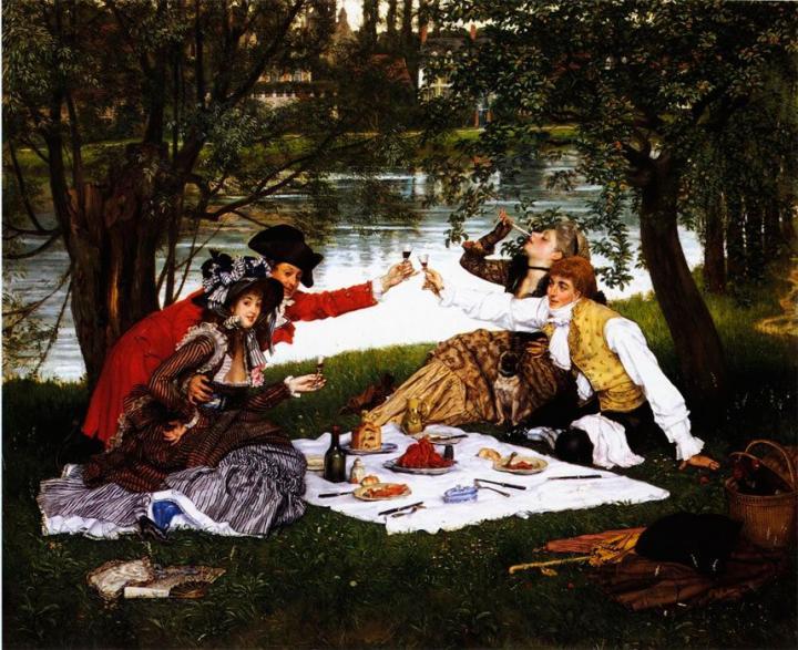 картина Завтрак вчетвером :: Джеймс Тиссот - Романтические сюжеты в живописи фото