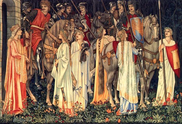 Боевое снаряжение и выступление рыцарей Круглого Стола :: Сэр Эдвард Бёрн-Джонс - Edward Coley Burne-Jones фото