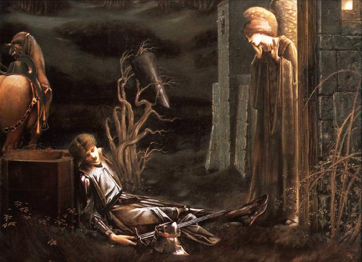 Ланселот у часовни Святого Грааля :: Сэр Эдвард Бёрн-Джонс - Edward Coley Burne-Jones фото