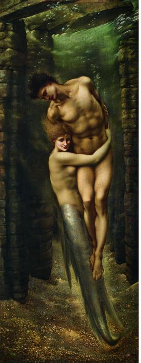 Глубины моря :: Сэр Эдвард Бёрн-Джонс (русалка) - Картины ню, эротика в шедеврах живописи фото