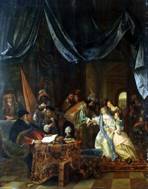 Эсфирь перед Артаксерксом :: Ян Стен - Библейские сюжеты в живописи фото