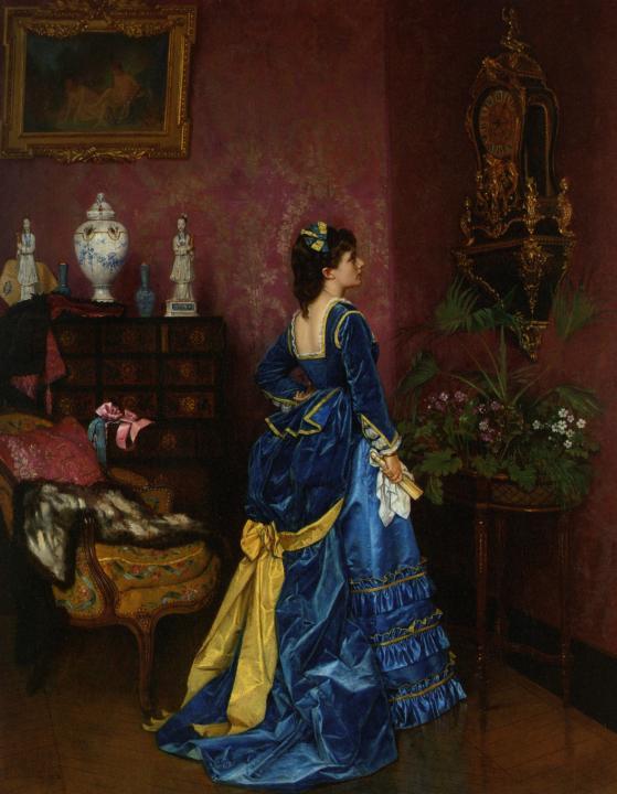 картина Голубое платье (девушка в интерьере) :: Огюст Тульмуш - Жанровые сцены фото