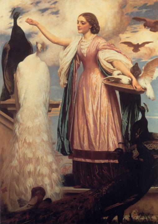 Девушка, кормящая павлинов :: Фредерик Лейтон, описание картины - Leighton, Frederick фото