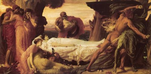 Геркулес, борящийся со смертью за тело Алкеста :: Лейтон Фредерик, описание картины - Leighton, Frederick фото