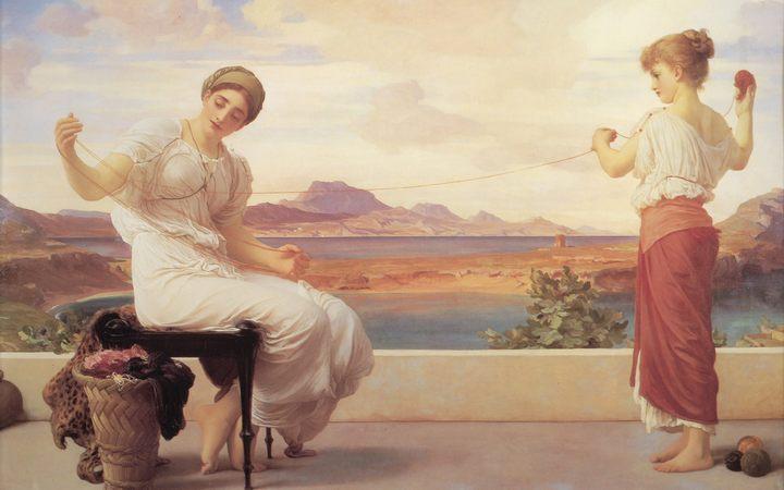 картина Сматывание пряжи :: Фредерик Лейтон, описание картины - Leighton, Frederick фото