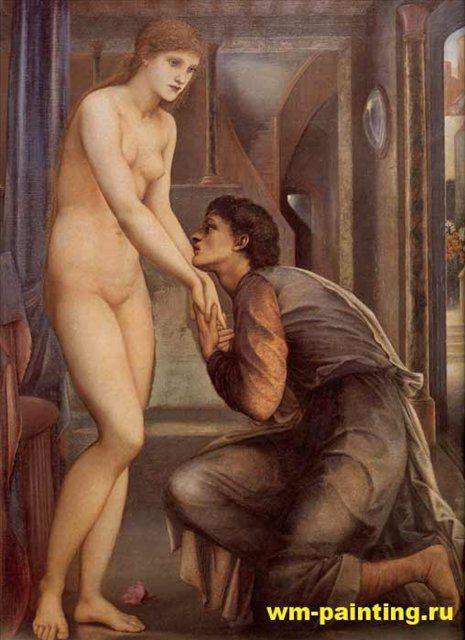 картина Слияние душ :: Эдуард Берн Джонс, описание - Edward Coley Burne-Jones фото