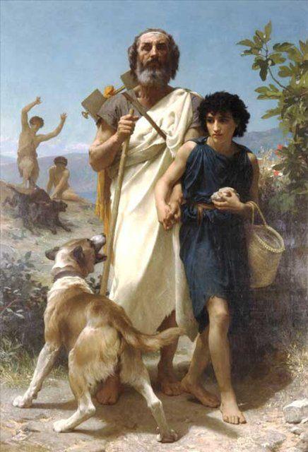Гомер и его проводник, художник Адольф Бугеро (Бугро), описание картины - Adolphe William Bouguereau фото