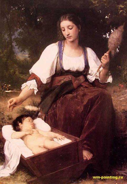 картина Колыбельная, Адольф Бугеро, описание - Adolphe William Bouguereau фото