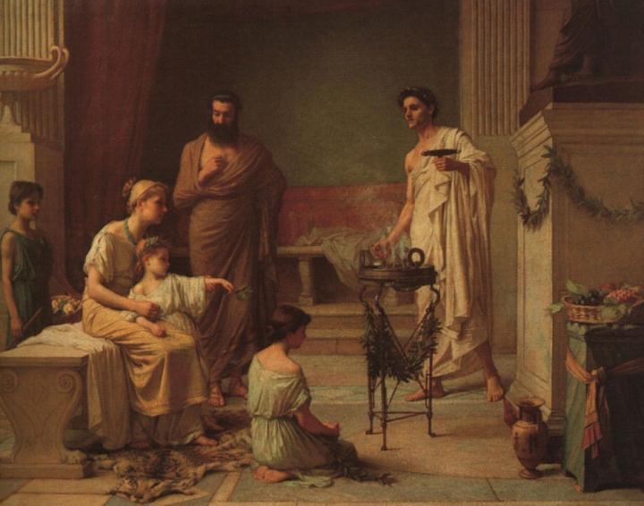 картина Больной Ребенок, Принесенный в Храм Эскулапа ::  Джон Уйльям Вотерхауз - Древний Рим и Греция, Египет фото