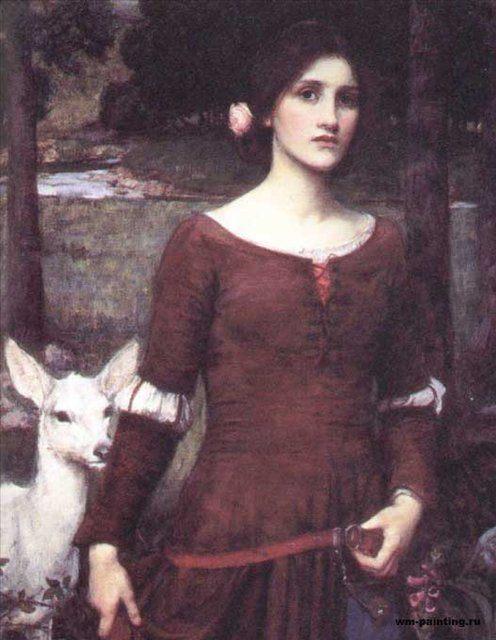 портрет с ягнёнком - Леди Клэр :: Джон Уйльям Вотерхауз - Портреты фото