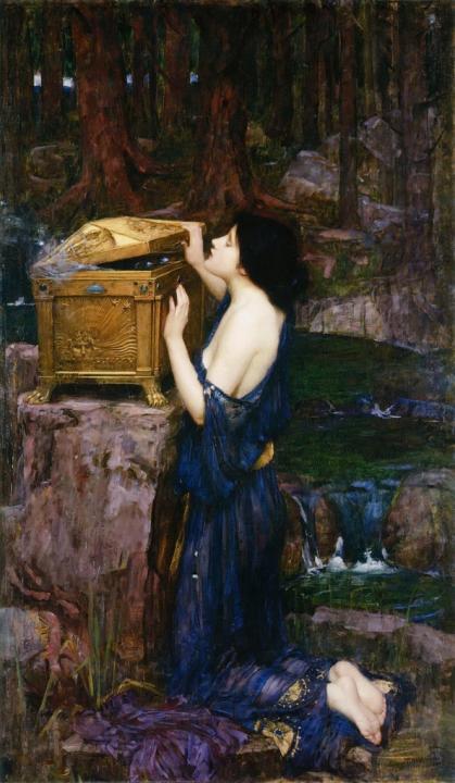 Пандора, открывающая ящик ::  Джон Уйльям Вотерхауз - Античная мифология фото