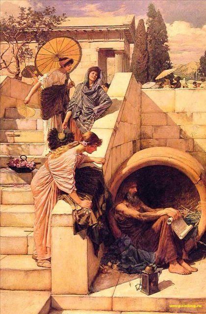 картина <Диоген> ::  Джон Уйльям Вотерхауз - Древний Рим и Греция, Египет фото