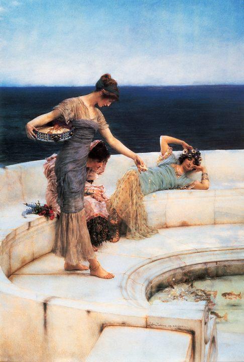 картина Серебристые фавориты (кормление рыбок) :: Альма-Тадема Сэр Лоуренс - Lourens Alma Tadema фото