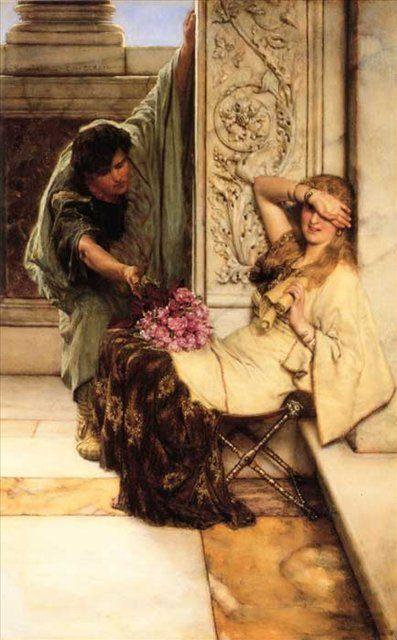 картина Смущение (первое свидание) :: Альма-Тадема, сэр Лоуренс - Романтические сюжеты в живописи фото