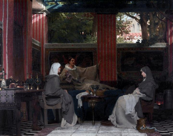 Венанций Фортунат читающий свои стихи - Исторические сюжеты в живописи фото