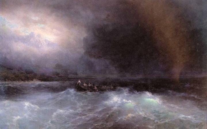 "ночной пейзаж ""Лодка в море"" :: Айвазовский И.К. - Море в живописи ( морские пейзажи, seascapes ) фото"