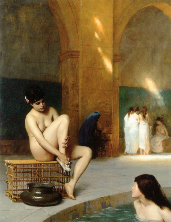 картина Хамам - бассейн :: Жероме Жан Леон - Картины ню, эротика в шедеврах живописи фото