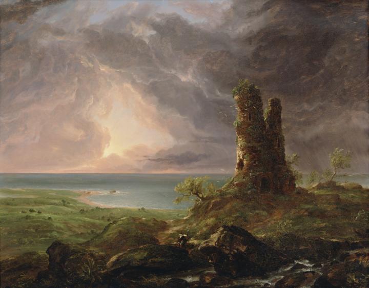Романтический пезаж с руинами башни :: Томас Коул, описание картины - Архитектура фото