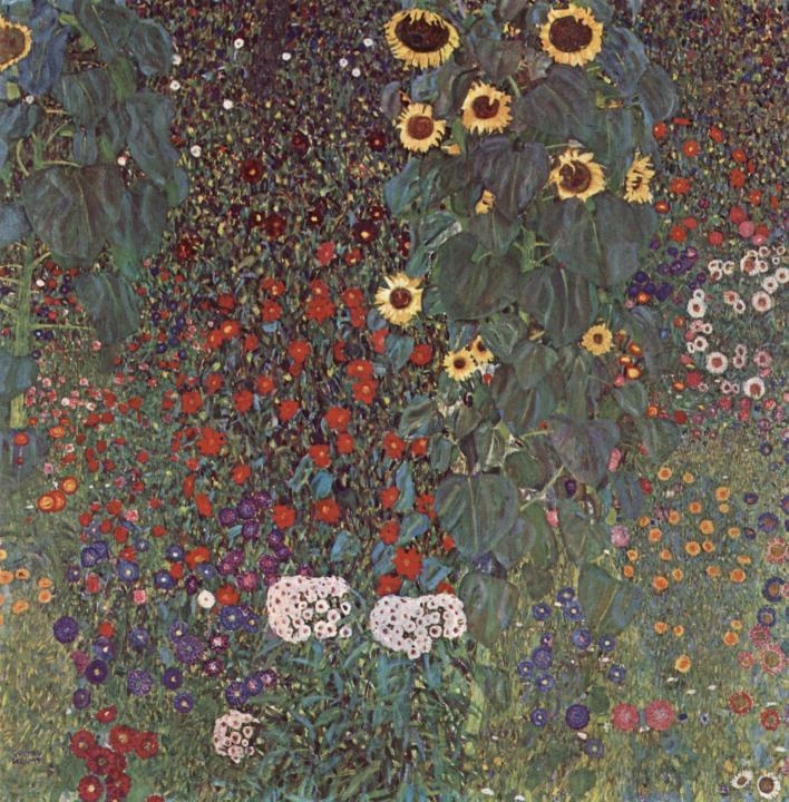 картина Сад с подсолнухами в деревне  :: Густав Климт, плюс о модных свадебных букетах  - Цветы и натюрморты - картины художников прошлых веков фото