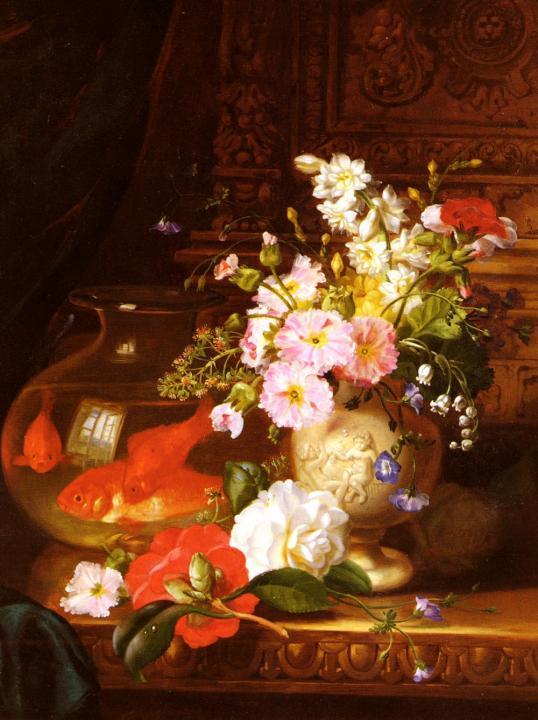 Натюрморт с камелиями, первоцветами, лилией и аквариумом с золотыми рыбками :: Джон Уэйнрайт - Цветы и натюрморты - картины художников прошлых веков фото