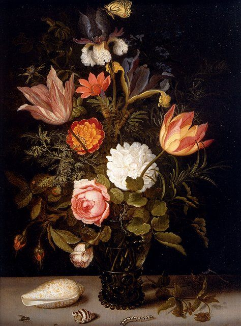 Натюрморт из Роз, Тюльпанов, Радужных ирисов с ракушками и несколькими насекомыми :: Бальтасар Ван дер Ваарт - Натюрморт, цветы ( new ) фото