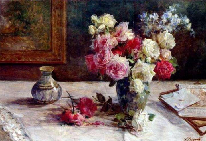 Розы в вазе и несколько книг на столе :: Лицинио Барзанти - Цветы и натюрморты - картины художников прошлых веков фото