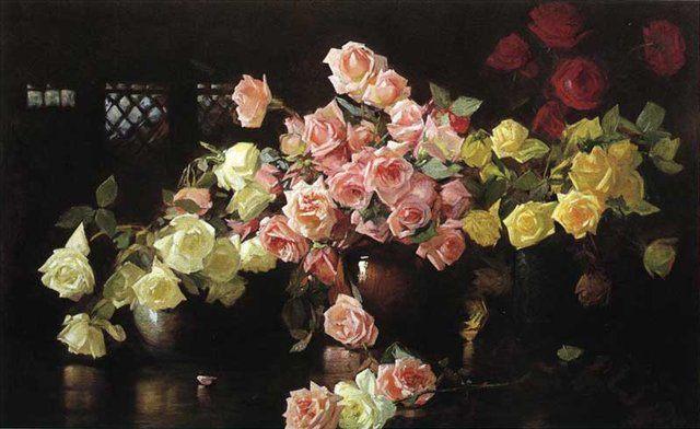 Розы :: Джосеф Родефер де Кэмп - Цветы и натюрморты - картины художников прошлых веков фото
