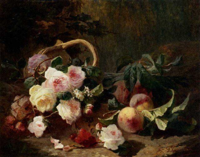 Корзина роз и фруктов :: Боргоне Пьер - Цветы и натюрморты - картины художников прошлых веков фото