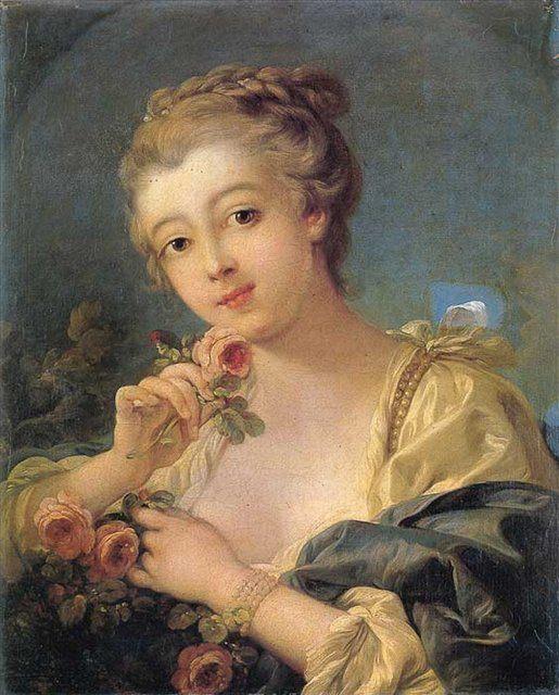 картина Юная девушка с букетом роз :: Француа Буше, плюс статья Успокаивающие цвета в интерьере - Цветы и натюрморты - картины художников прошлых веков фото
