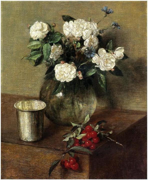 Вишни и розы в вазе :: Анри Фантин-Латур - Цветы и натюрморты - картины художников прошлых веков фото