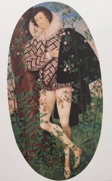 картина Юноша прислонившийся к дереву среди роз :: Николас Хилард, плюс статья Варианты использования пледов при декорировании помещений - спальни, гостиные и пр. - Цветы и натюрморты - картины художников прошлых веков фото