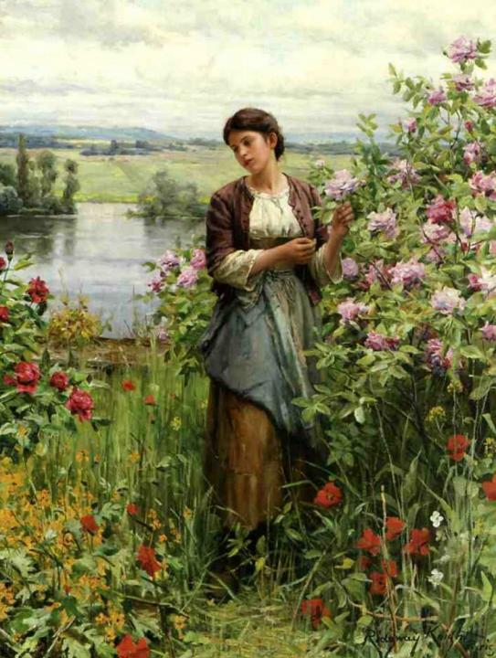 Джулия среди роз :: Дэниэл Ридвей Найт - Цветы и натюрморты - картины художников прошлых веков фото