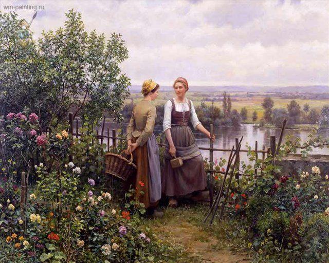 Даниэль и Мадлен на терассе :: - Цветы и натюрморты - картины художников прошлых веков фото