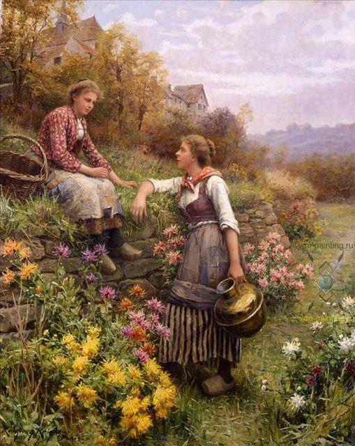 Сплетни :: Дэниэл Ридвей Найт - Цветы и натюрморты - картины художников прошлых веков фото
