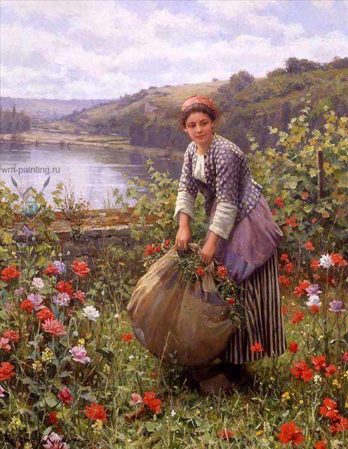 картина Сборщица травы :: Дэниэл Ридвей Найт - Цветы и натюрморты - картины художников прошлых веков фото