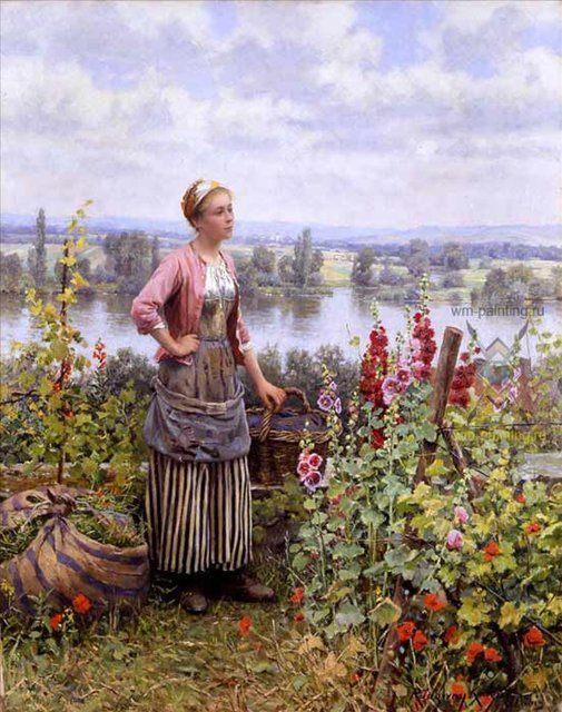Мария на террасе со связками травы :: Дэниэл Ридвей Найт - Цветы и натюрморты - картины художников прошлых веков фото