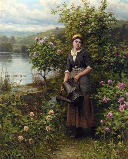 Поливая сад :: Дэниэл Ридвей Найт - Цветы и натюрморты - картины художников прошлых веков фото