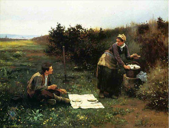 Завтрак медового месяца :: Дэниэл Ридвей Найт - Романтические сюжеты в живописи фото