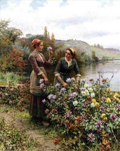 В саду цветов - Цветы и натюрморты - картины художников прошлых веков фото