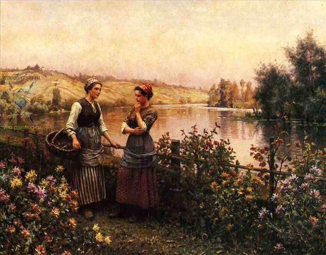 Остановка для разговора :: Дэниэл Ридвей Найт - Цветы и натюрморты - картины художников прошлых веков фото