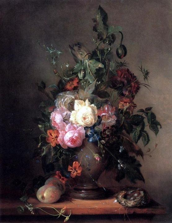 Розы, маки, тюльпаны с персиками и птичьим гнездом :: Француа Жосеф Хайженс - Цветы и натюрморты - картины художников прошлых веков фото