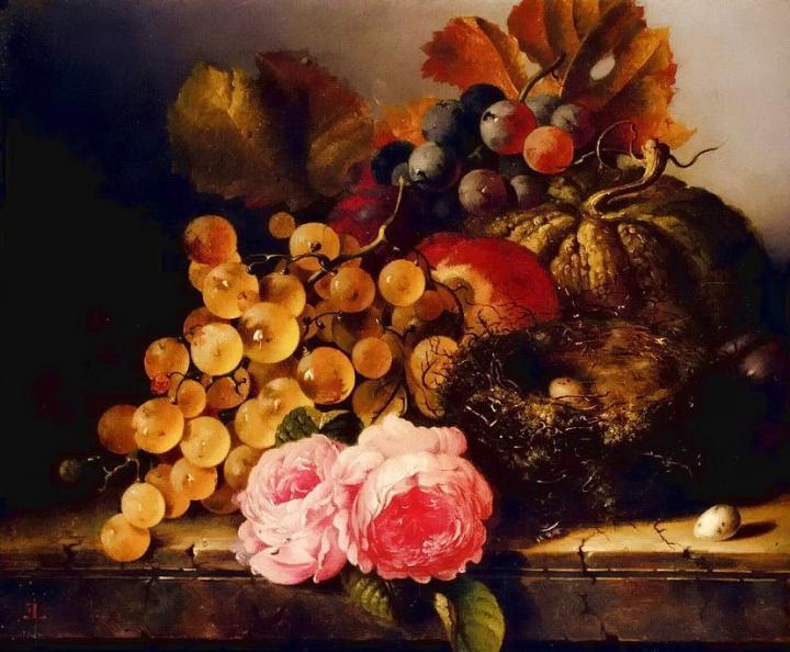 Натюрморт с птичьим гнездом, розами, дыней и виноградом :: Эдвард Лэйдл, плюс статья подарок к дню учителя - Цветы и натюрморты - картины художников прошлых веков фото
