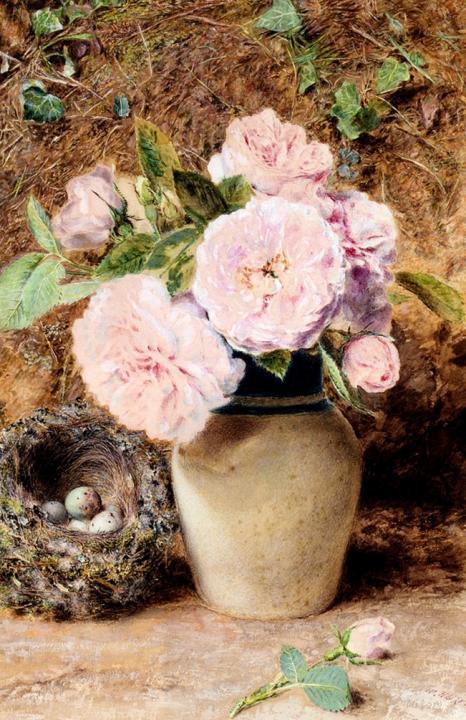 Натюрморт с розами в вазе и птичьим гнездом :: Генри Хант - Цветы и натюрморты - картины художников прошлых веков фото