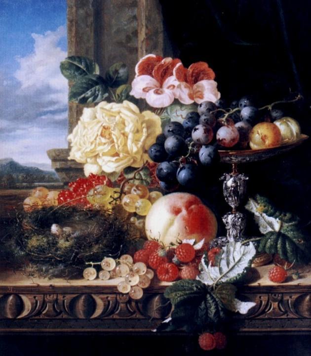 Натюрморт с розами, ягодами, фруктами и гнездом :: Эдвард Лэйдл - Цветы и натюрморты - картины художников прошлых веков фото
