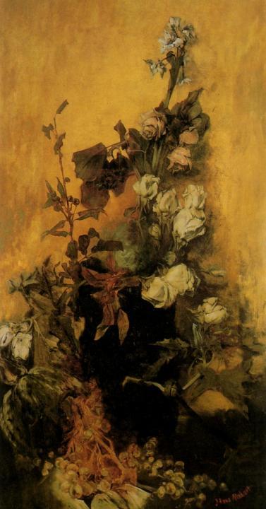 Натюрморт - увядшие розы и фрукты :: Ганс Макарт, плюс статья Плитка из оникса - Цветы и натюрморты - картины художников прошлых веков фото