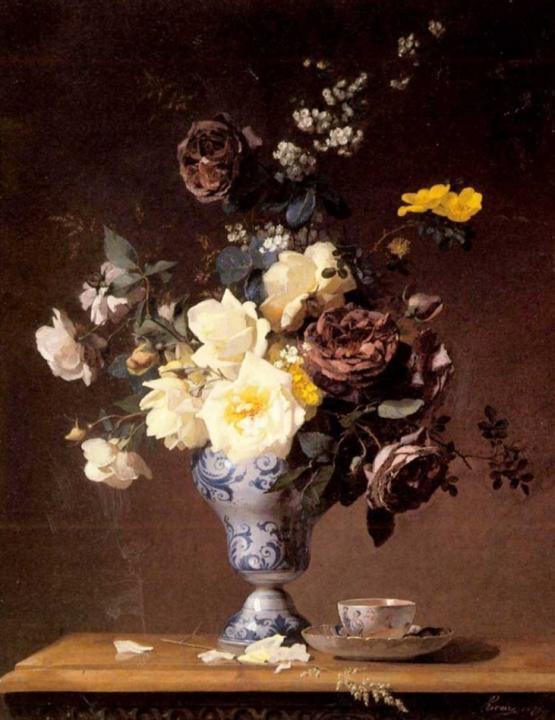 Розы и другие цветы в голубой вазе :: Франсуа Ривори - Цветы и натюрморты - картины художников прошлых веков фото