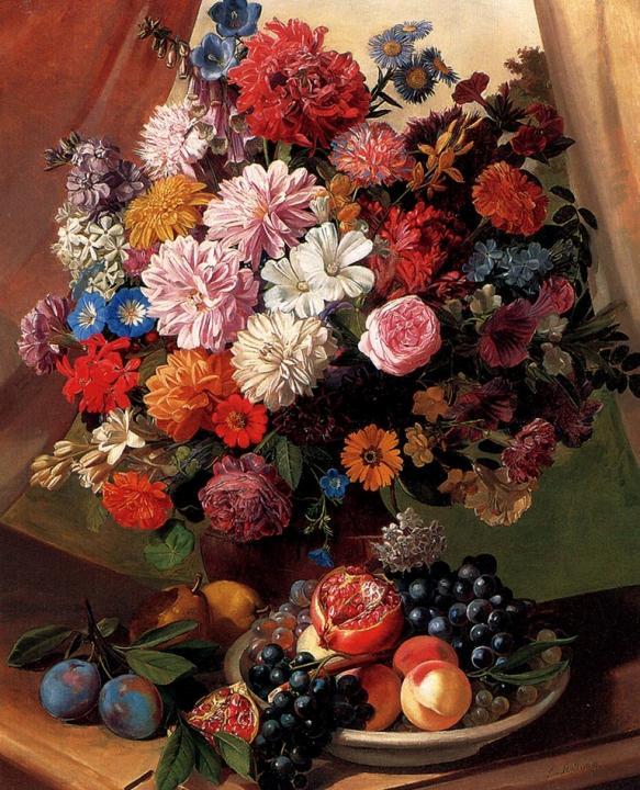 Букет цветов - розы, гвоздики, пионы и маргаритки и фрукты в вазе :: Леопольд ван Столл, плюс статья Французский деревенский стиль в интерьере - Натюрморт, цветы ( new ) фото